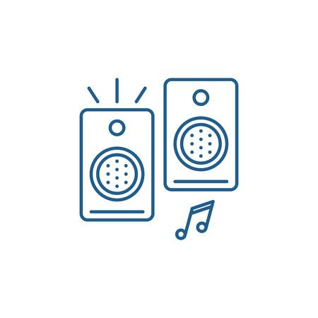 Loudspeakers line concept icon. Loudspeakers flat  vector website sign, outline symbol, illustration. Stock Vector - 119910760