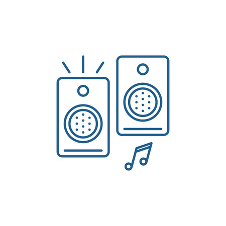 Loudspeakers line concept icon. Loudspeakers flat  vector website sign, outline symbol, illustration.