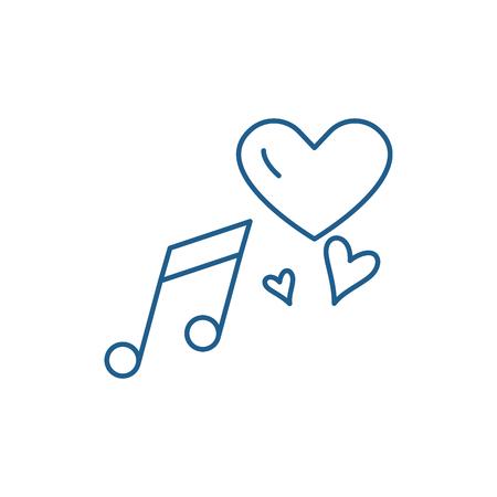 Love music line concept icon. Love music flat  vector website sign, outline symbol, illustration.
