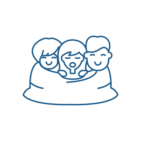 Love triangle line concept icon. Love triangle flat  vector website sign, outline symbol, illustration.  イラスト・ベクター素材