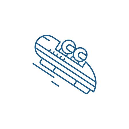 Luge line concept icon. Luge flat  vector website sign, outline symbol, illustration.