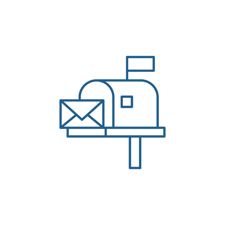 Mailbox line concept icon. Mailbox flat vector website sign, outline symbol, illustration.