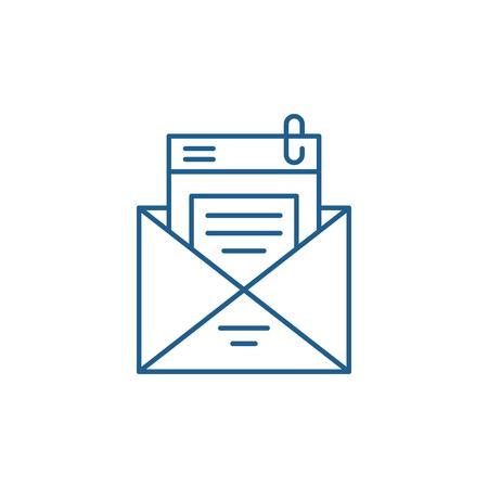 Icono de concepto de línea de lista de correo. Lista de correo de signo de sitio web de vector plano, símbolo de contorno, Ilustración.