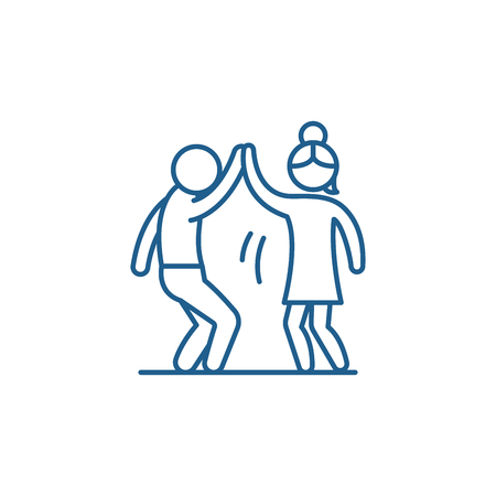 Man and woman are dancing line concept icon. Man and woman are dancing flat  vector website sign, outline symbol, illustration. Illustration