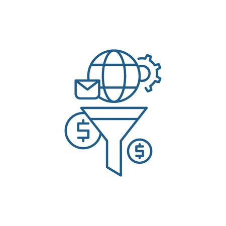 Marketing funnel line concept icon. Marketing funnel flat  vector website sign, outline symbol, illustration.