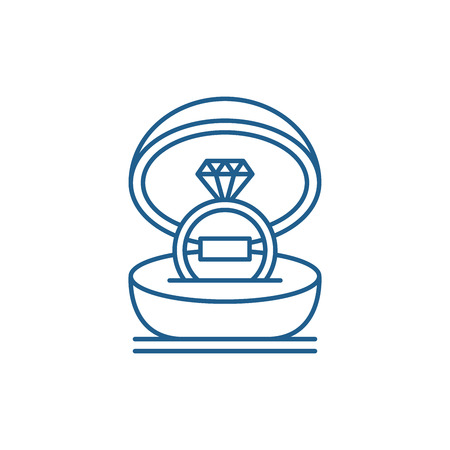 Marriage ceremony line concept icon. Marriage ceremony flat  vector website sign, outline symbol, illustration. Иллюстрация