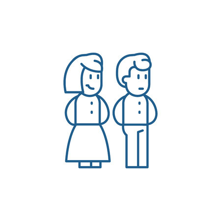 Married couple line concept icon. Married couple flat  vector website sign, outline symbol, illustration.