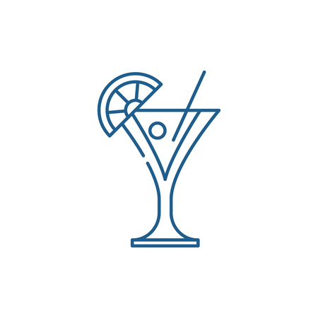Martini line concept icon. Martini flat  vector website sign, outline symbol, illustration.  イラスト・ベクター素材
