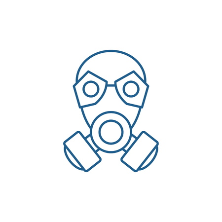 Mask line concept icon. Mask flat  vector website sign, outline symbol, illustration.