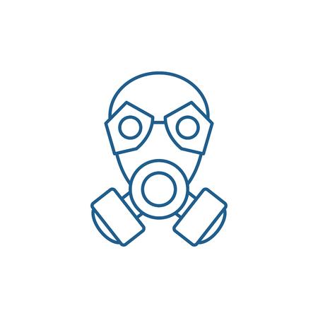Mask line concept icon. Mask flat  vector website sign, outline symbol, illustration.