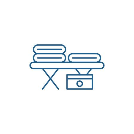 Massage table line concept icon. Massage table flat  vector website sign, outline symbol, illustration.