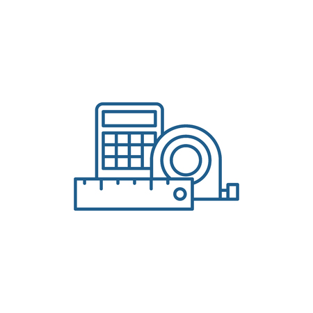 Measurement and calculations line concept icon. Measurement and calculations flat  vector website sign, outline symbol, illustration.