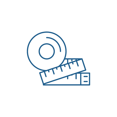 Measurement of the figure line concept icon. Measurement of the figure flat  vector website sign, outline symbol, illustration.