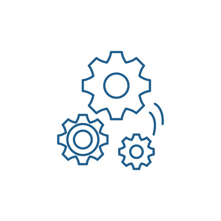 Mechanical engineering line concept icon. Mechanical engineering flat  vector website sign, outline symbol, illustration. 向量圖像