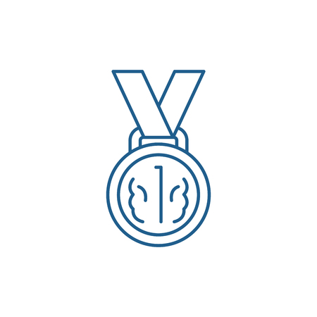 Medal first place line concept icon. Medal first place flat  vector website sign, outline symbol, illustration.