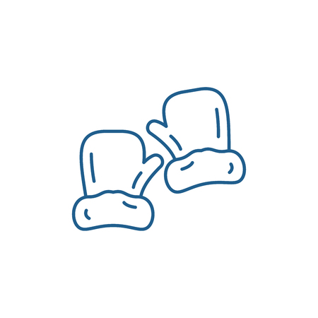 Mittens line concept icon. Mittens flat  vector website sign, outline symbol, illustration.  イラスト・ベクター素材