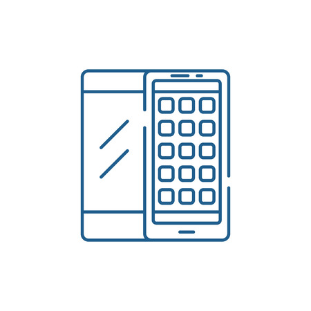 Mobile applications line concept icon. Mobile applications flat  vector website sign, outline symbol, illustration.