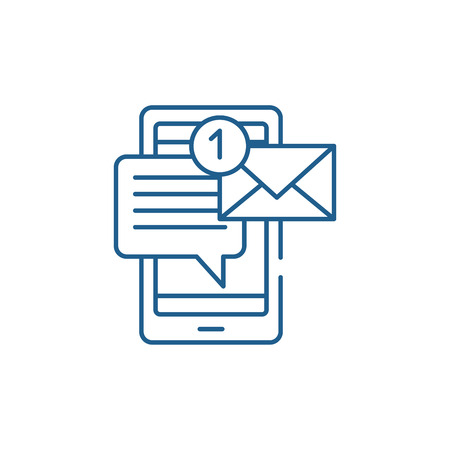 Mobile chat bot line concept icon. Mobile chat bot flat  vector website sign, outline symbol, illustration. Фото со стока - 119910932