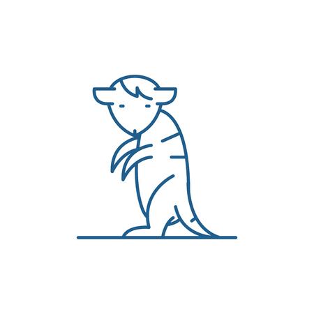 Meerkat line concept icon. Meerkat flat  vector website sign, outline symbol, illustration.