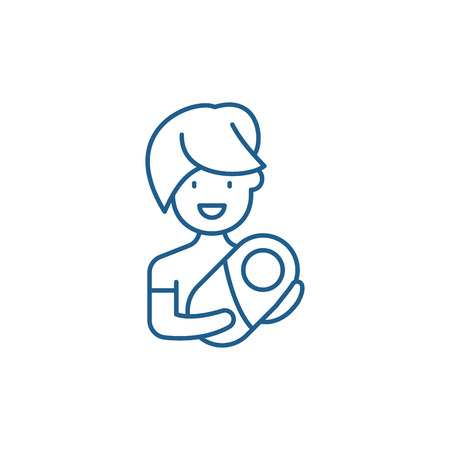 Mom with baby line concept icon. Mom with baby flat  vector website sign, outline symbol, illustration. Çizim