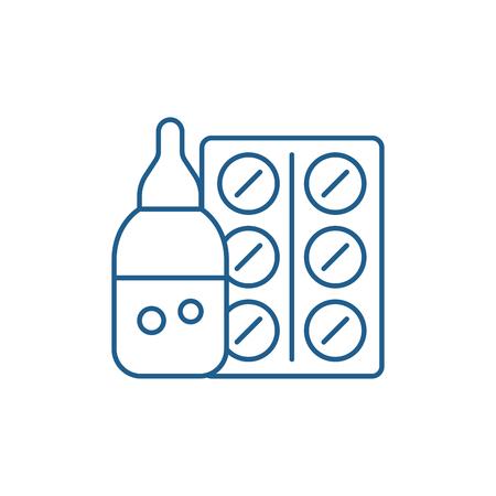 Medicines line concept icon. Medicines flat vector website sign, outline symbol, illustration. Vektorové ilustrace