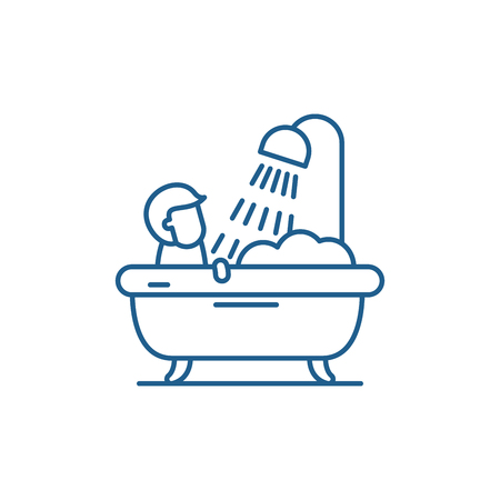Mens bathroom line concept icon. Mens bathroom flat  vector website sign, outline symbol, illustration.