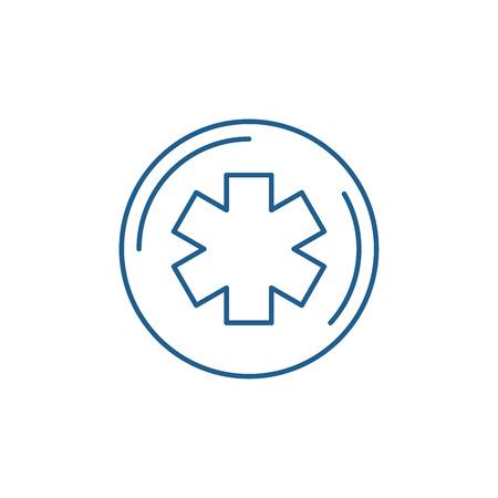 Medicine symbol line concept icon. Medicine symbol flat  vector website sign, outline symbol, illustration.