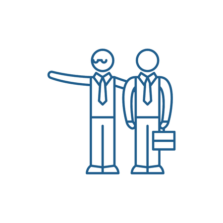 Mentoring line concept icon. Mentoring flat  vector website sign, outline symbol, illustration. 矢量图像