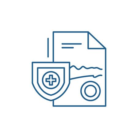 Medical report line concept icon. Medical report flat  vector website sign, outline symbol, illustration. Illustration