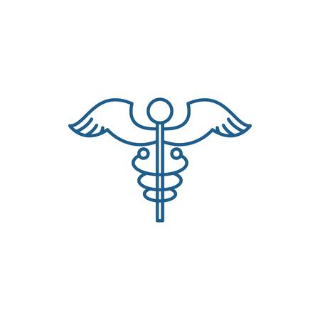 Medicine sign line concept icon. Medicine sign flat  vector website sign, outline symbol, illustration.