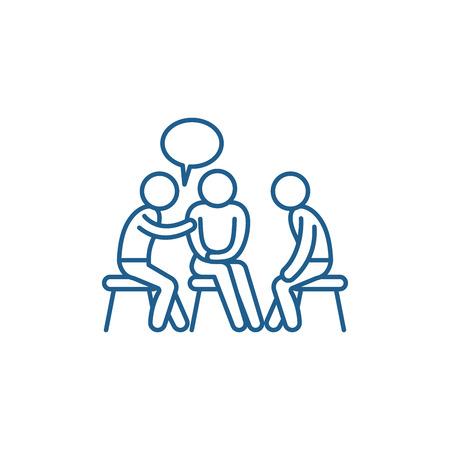 Icône de concept de ligne de mentorat. Signe de site Web de vecteur plat de mentorat, symbole du contour, illustration.