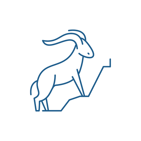 Mountain goat line concept icon. Mountain goat flat  vector website sign, outline symbol, illustration.
