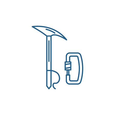 Mountaineering equipment line concept icon. Mountaineering equipment flat  vector website sign, outline symbol, illustration. 向量圖像
