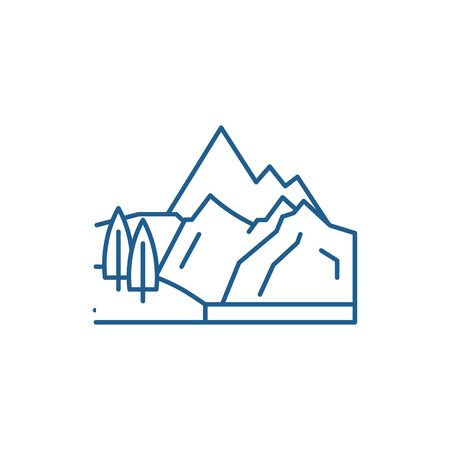 Mountains line concept icon. Mountains flat  vector website sign, outline symbol, illustration.