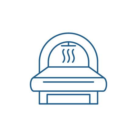Icono de concepto de línea de resonancia magnética. Mri vector plano sitio web de señal, símbolo de contorno, Ilustración.