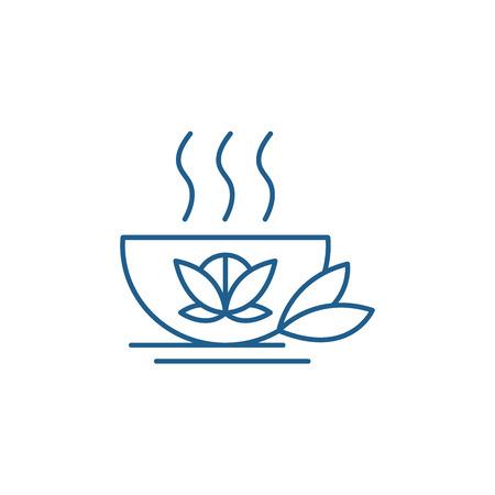 Mug of green tea line concept icon. Mug of green tea flat  vector website sign, outline symbol, illustration.