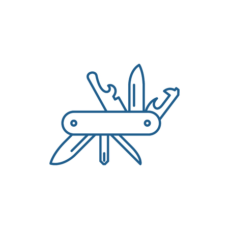 Multi knife line concept icon. Multi knife flat  vector website sign, outline symbol, illustration. Stockfoto - 119911079
