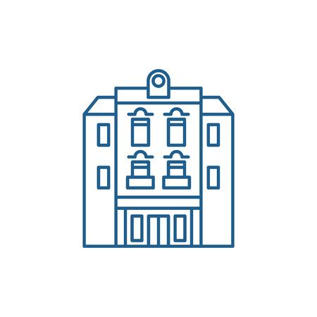 Multi storey building line concept icon. Multi storey building flat  vector website sign, outline symbol, illustration.