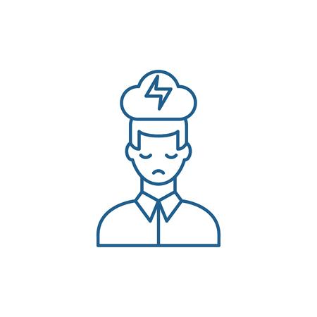 Icona del concetto di linea di esaurimento nervoso. Esaurimento nervoso vettore piatto sito web segno, simbolo di contorno, illustrazione.