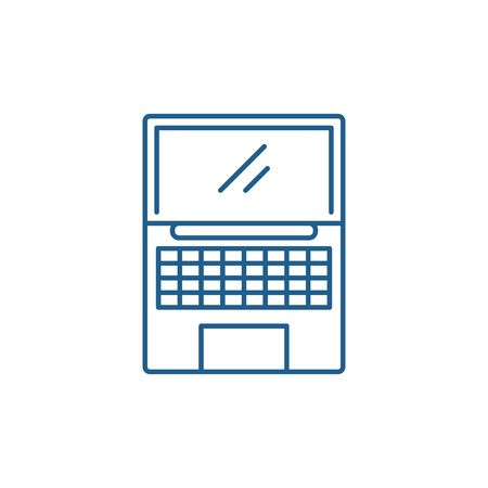 Netbook line concept icon. Netbook flat  vector website sign, outline symbol, illustration.