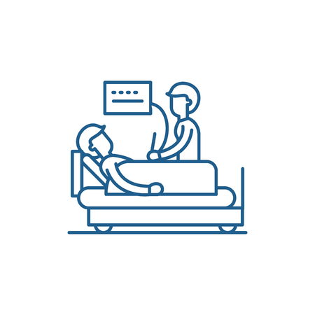 Medical examination line concept icon. Medical examination flat  vector website sign, outline symbol, illustration. 向量圖像