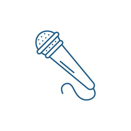 Microphone line concept icon. Microphone flat  vector website sign, outline symbol, illustration.  イラスト・ベクター素材
