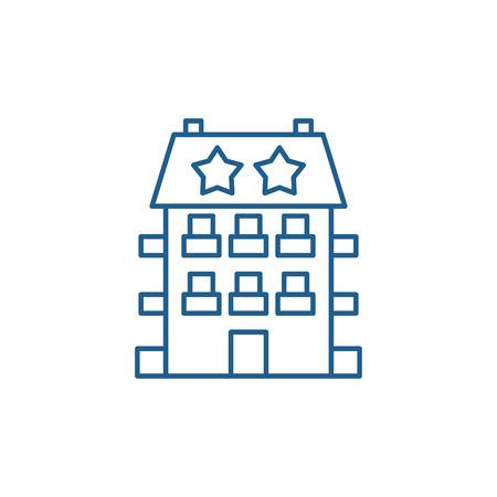 Mini hotel line concept icon. Mini hotel flat  vector website sign, outline symbol, illustration.