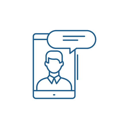 Mobile conversation line concept icon. Mobile conversation flat  vector website sign, outline symbol, illustration.