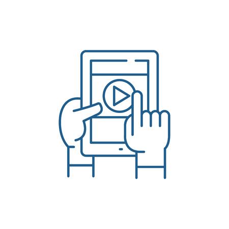 Mobile learning line concept icon. Mobile learning flat  vector website sign, outline symbol, illustration. Standard-Bild - 119911215