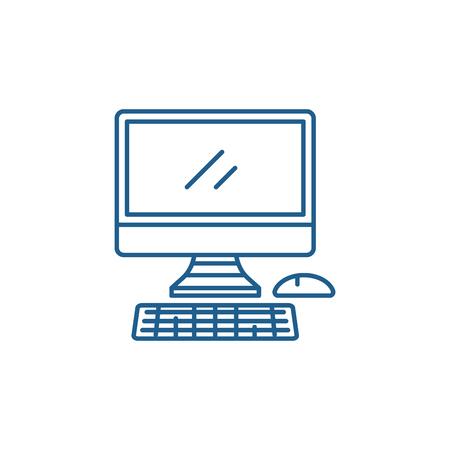 Modern computer line concept icon. Modern computer flat  vector website sign, outline symbol, illustration. Stock Vector - 119911223