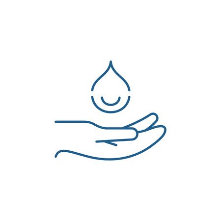 Icône de concept de ligne de mains hydratantes. Signe de site Web de vecteur plat de mains hydratantes, symbole de contour, illustration.