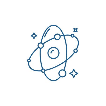 Molecule line concept icon. Molecule flat  vector website sign, outline symbol, illustration.