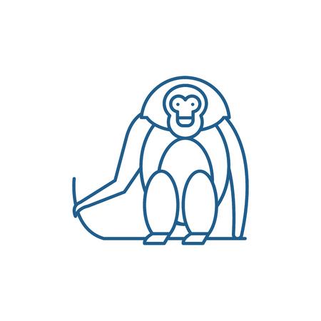 Monkey line concept icon. Monkey flat  vector website sign, outline symbol, illustration. Stock Illustratie