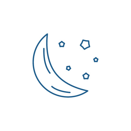 Moon line concept icon. Moon flat  vector website sign, outline symbol, illustration. Ilustrace